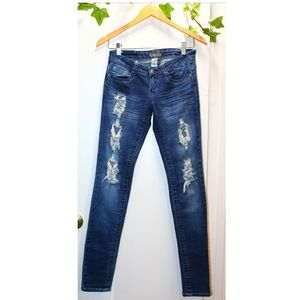 RED RIVET JEANS ~ Skinny ripped jeans (1)